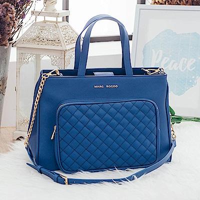 MARC ROCOO-甜氛優雅菱格紋手提側背包128-蔚海藍
