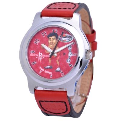 NBA 美國職籃 姚明 休士頓火箭隊波浪日期窗腕錶-紅/39mm
