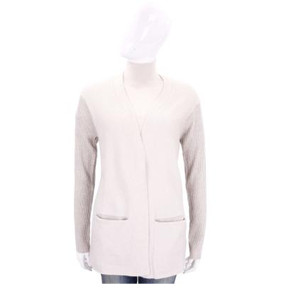 ALLUDE 米咖色直紋拼接設計羊毛針織外套(51%WOOL)
