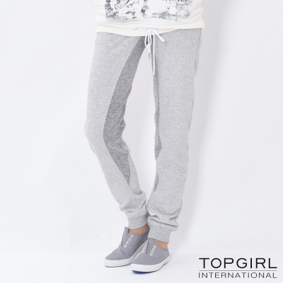 TOP-GIRL-造型撞色拼接休閒褲-淺麻灰