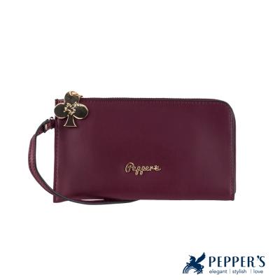 PEPPER`S Clover牛皮手機手拿包 - 酒紅