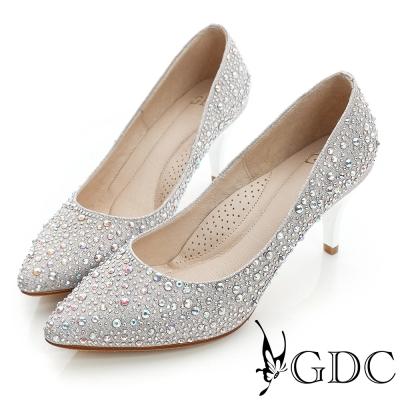 GDC幸福-色彩水鑽尖頭真皮中跟鞋(婚鞋)-粉色