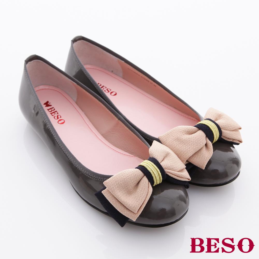 BESO 法式女伶-立體蝴蝶結加厚底墊鏡面平底娃娃鞋-俏皮灰