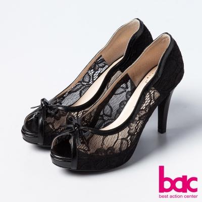 bac蕾絲舞鞋-優雅蕾絲蝴蝶結魚口高跟鞋-黑
