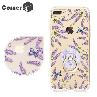 Corner4 iPhone6.7.8+ 奧地利彩鑽指環扣雙料手機殼-薰衣草