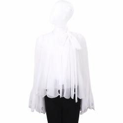 SEE BY CHLOE 白色花瓣型喇叭袖設計波紋雪紡紗質上衣
