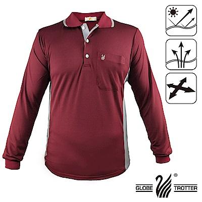 【遊遍天下】台灣製男款抗UV吸濕排汗機能POLO長衫GL10023磚紅