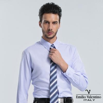 Emilio Valentino 范倫提諾仿天絲條紋長袖襯衫-藍