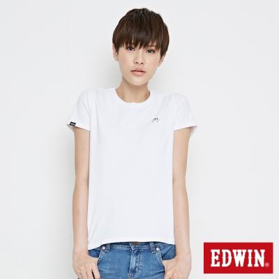 EDWIN 基本W搭配短袖T恤-女-白色