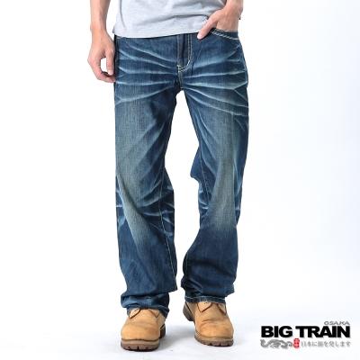 BIG TRAIN-日式雲紋繡花垮褲-中深藍