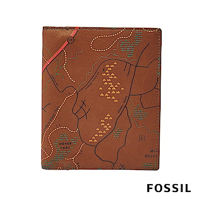 FOSSIL TRAVEL 地圖真皮護照夾-駝色