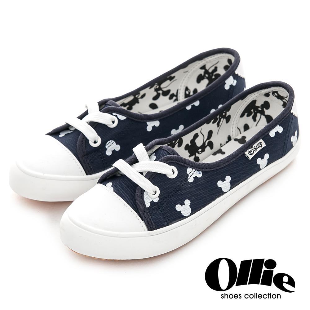 Ollie韓國空運-正韓製米奇印花綁帶帆布休閒鞋-深藍