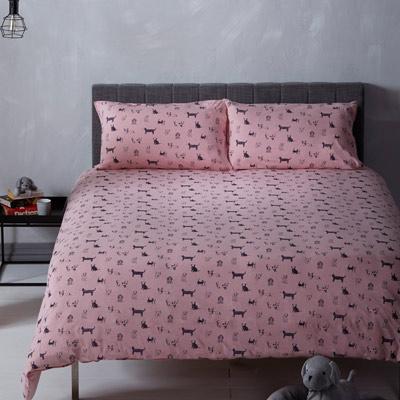 YVONNE COLLECTION手繪狗狗雙人三件式被套+枕套組(6x7呎)-粉紅