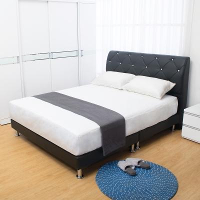Boden-佩卡6尺黑色皮革雙人加大床組(床頭片+床底)(不含床墊)