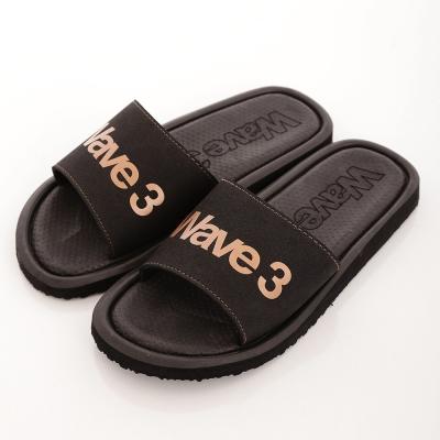 WAVE3【男】 台灣製 天鵝絨LOGO印刷一片拖鞋~黑