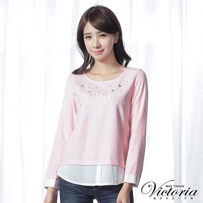 Victoria 貼鑽刺繡拼接長袖T-女-粉色
