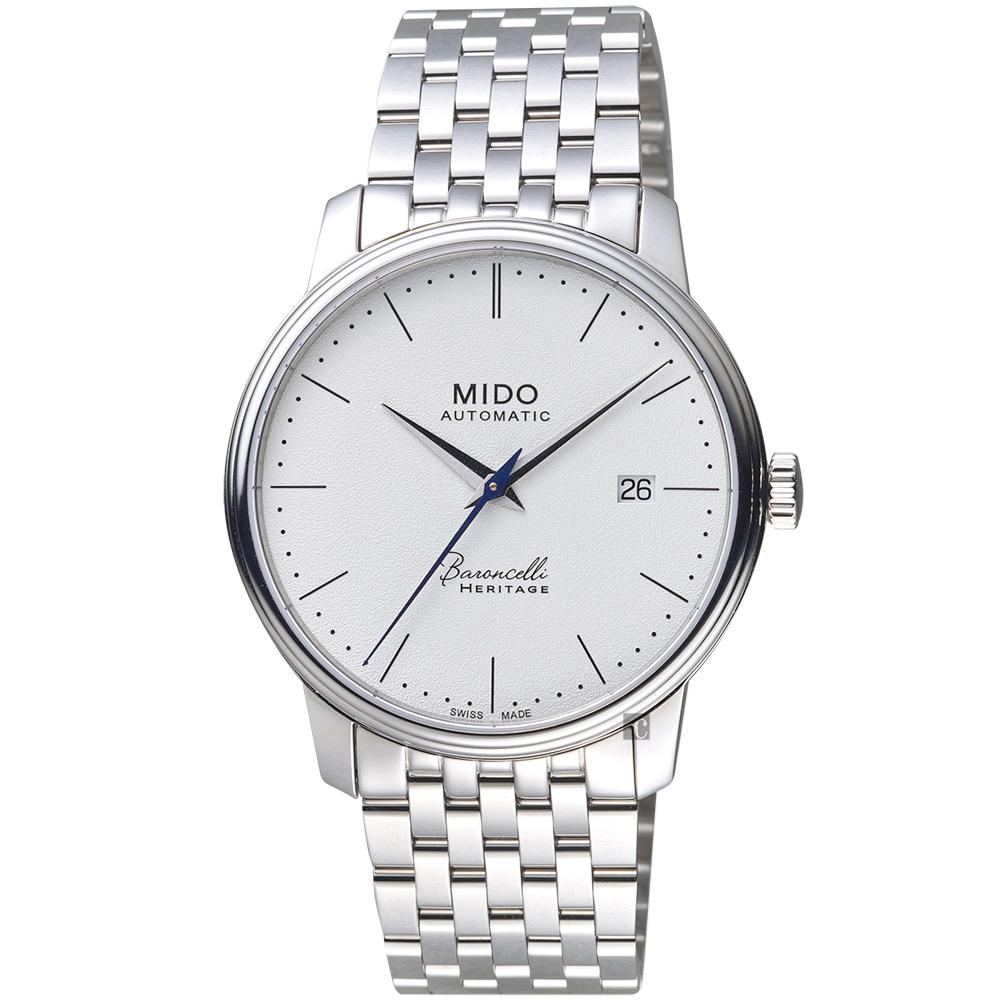 MIDO美度 Baroncelli 永恆系列復刻超薄機械錶-白x銀/39mm