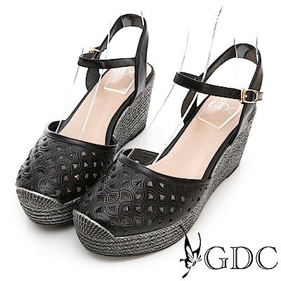 GDC-真皮楔型厚底日雜基本簍空涼鞋-黑色