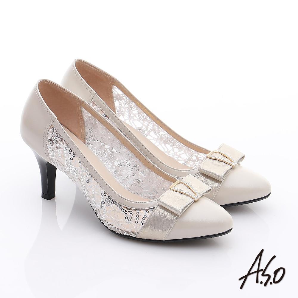 A.S.O 法式浪漫 牛皮拼接蕾絲布蝴蝶結鑽飾高跟鞋 米色