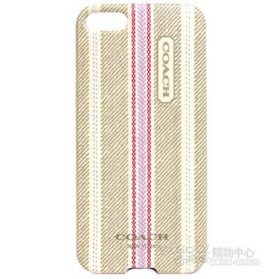 COACH 民俗風直紋iPhone5手機保護殼(卡其粉)