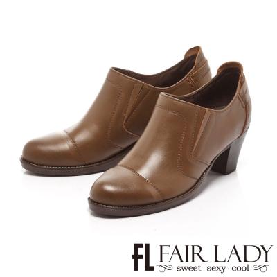 Fair Lady  雅痞隨性牛津粗跟踝靴 橄欖綠