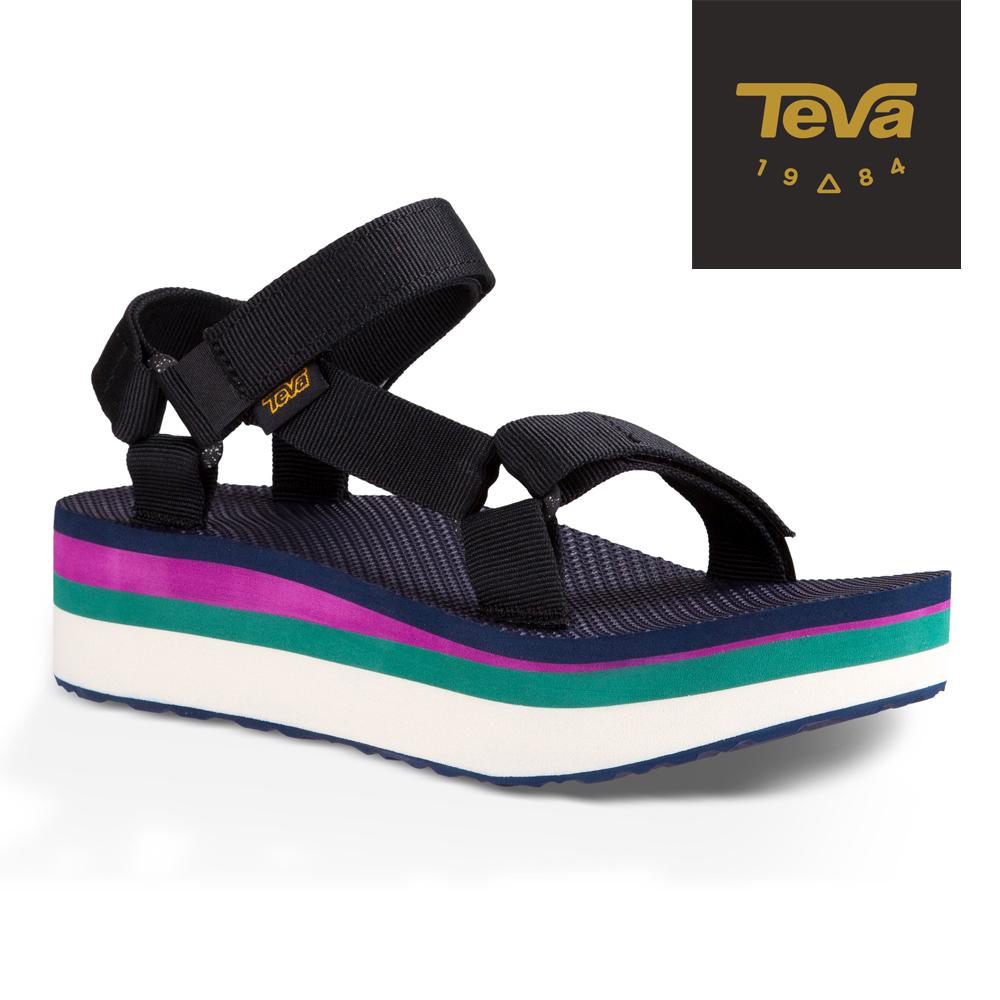 TEVA 美國 女 Flatform Universal 織帶厚底涼鞋 (千層黑)
