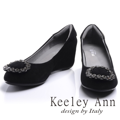 Keeley Ann 華麗鑽飾圓型釦環內增高全真皮楔形鞋(黑色-Ann)