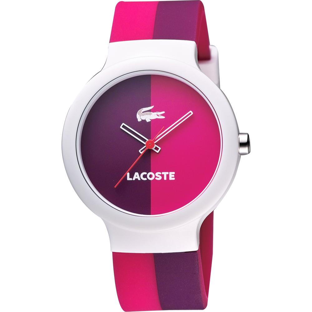 Lacoste 鱷魚 復古百搭雙色休閒腕錶-紫/莓紅/40mm