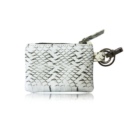 ACUBY 限量單品手工蛇皮鑰匙包/零錢包-宮廷白