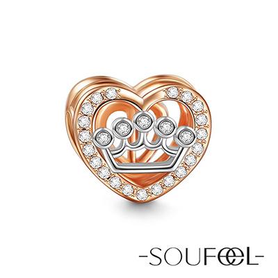 SOUFEEL索菲爾 925純銀珠飾 愛情皇冠(玫瑰金) 串珠