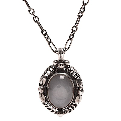 GEORG JENSEN 經典Heritage系列永恆之珠925氧化純銀灰月光石鑲嵌項鍊