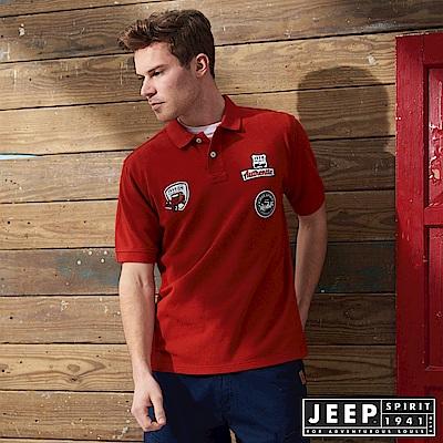 JEEP 時尚美式貼布素面短袖POLO衫-紅色