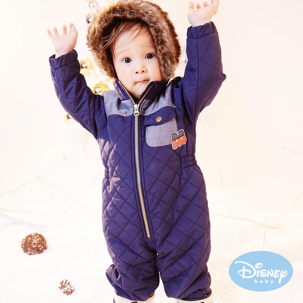 Disney Baby 雪花米奇保暖鋪棉連身裝 丈青