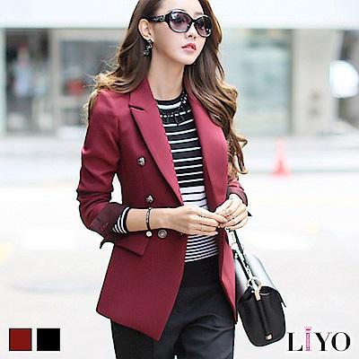 外套翻領配色修身雙排扣OL女長版西裝外套LIYO理優 S-XL