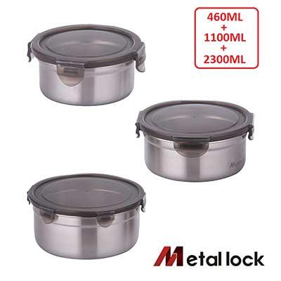 韓國Metal lock 圓形不鏽鋼保鮮盒-深型3入組(460+1100+2300ml)