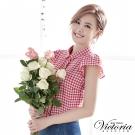 Victoria 格紋短袖襯衫-女-桃白