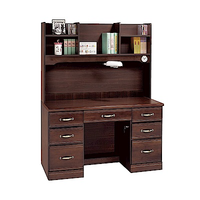 品家居 盧卡4.1尺實木電腦桌/書桌(上+下座)-124x59x165cm免組