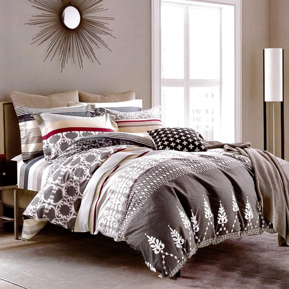 生活提案 純棉涼被床包組三件組-星夢奇緣灰/單人