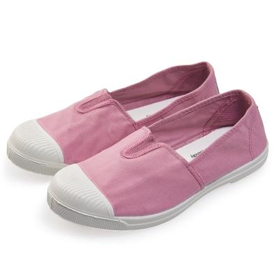 (女)Natural World 西班牙休閒鞋 素色鬆緊基本款*粉色