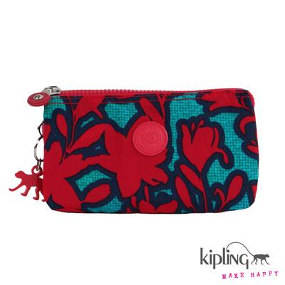 Kipling-手拿零錢包-炫彩粉藍印花