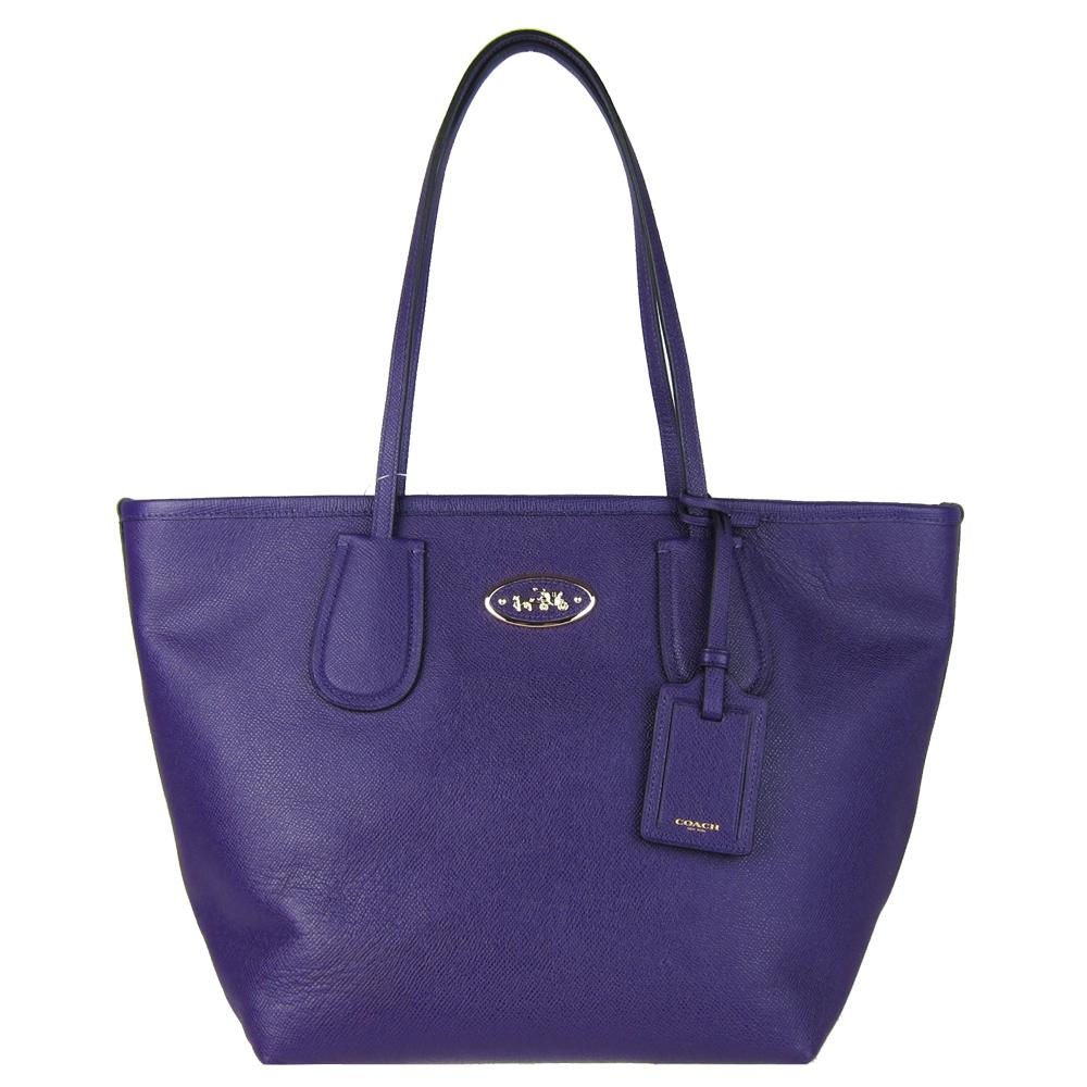 COACH馬車防刮皮革肩背托特包(紫)COACH