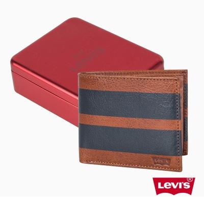 簡約條紋設計牛皮短夾 精美鐵盒 - Levis