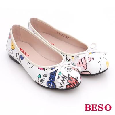 BESO 潮人街頭風 玩味風趣蝴蝶結平底鞋 白色
