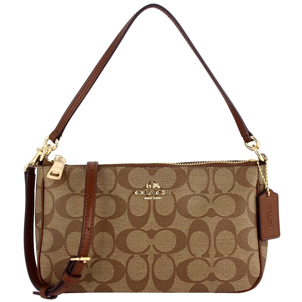 COACH 咖啡色防水材質皮飾邊兩用斜背/手提包