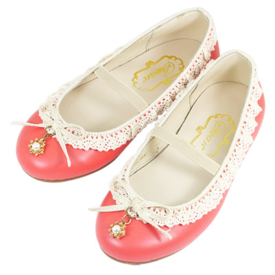 Swan天鵝童鞋-蕾絲花邊珍珠吊飾公主鞋 3747-桔