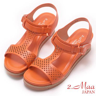 2.Maa-樂活休閒馬卡龍色楔型厚底涼鞋-橙