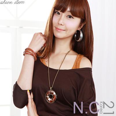 【N.C21】華麗水晶點綴花紋項鍊 (棕色)