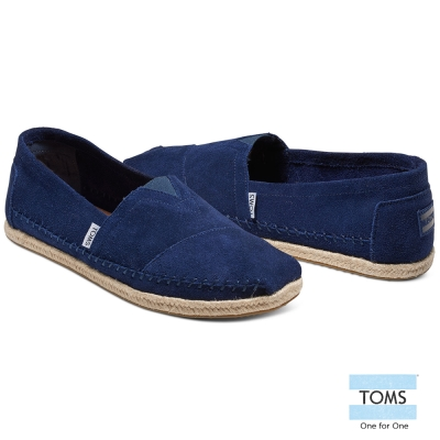 TOMS 麂皮粗縫線懶人鞋-男款(藍)