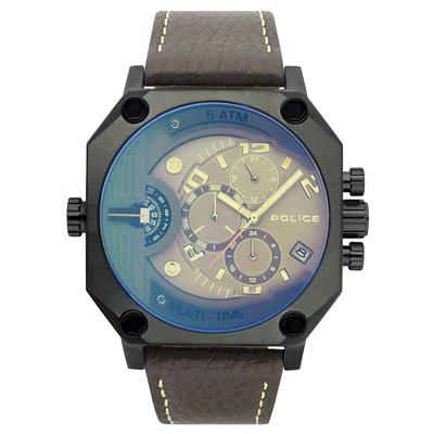 POLICE 叛逆元素雙時區腕錶-15385JSU-13-48mm