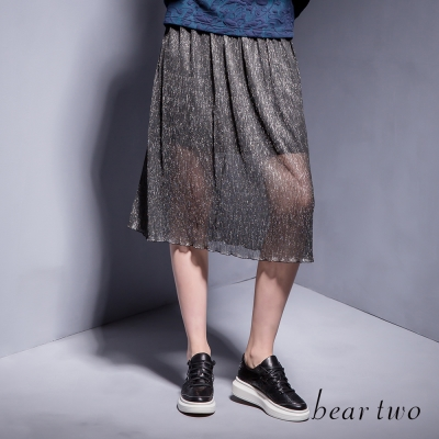 beartwo 低調耀眼銀蔥清透雙層長裙(黑色)